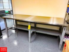 """S/S Tables, 8' and 6' Length x 36"""" Depth x 40"""" Height (Adjustable, 30"""" - 40""""). Rigging Fee: $75"""
