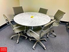 """52"""""""" Marble-Top Round Table with (5) Leather Chairs on Casters. Rigging Fee: $100"""