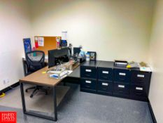 """L-Shaped Desk, 70"""" Length x 70"""" Width, with (4) 2-Drawer File Cabinets. Rigging Fee: $75"""
