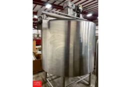 WCB 500 Gallon Cone-Bottom Hinged-Lid Jacketed S/S Processor, With Scrape Surface Agitator And Tri
