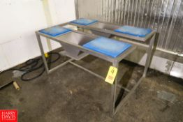 """S/S Dual Station Prep Table 59"""" x 42"""" x 33"""". Rigging Fee: $ 10.00"""