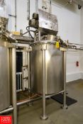 200 Gallon S/S Jacketed Cook Tank with Vertical Double Motion Agitation; 100 PSI Jacket. Rigging
