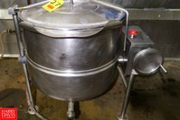 Cleveland 60 Gallon S/S Jacketed Tilting Kettle. Rigging Fee: $ 40.00