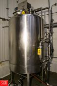 2015 400 Gallon S/S Insulated Mixing Tank with Dual Vertical Side & Bottom Scrape Agitation. Rigging