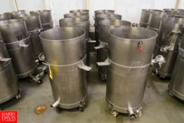 """S/S Drums Approx. 50 Gallon/190 Liter Capacity, 3"""" Diameter Outlets, with Manual Butterfly Valves."""