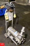 """Portable Centrifugal Pump Clamp Type, 5 HP, 1765 RPM 1.5"""" x 2"""" S/S . Rigging Fee: $ 25.00"""