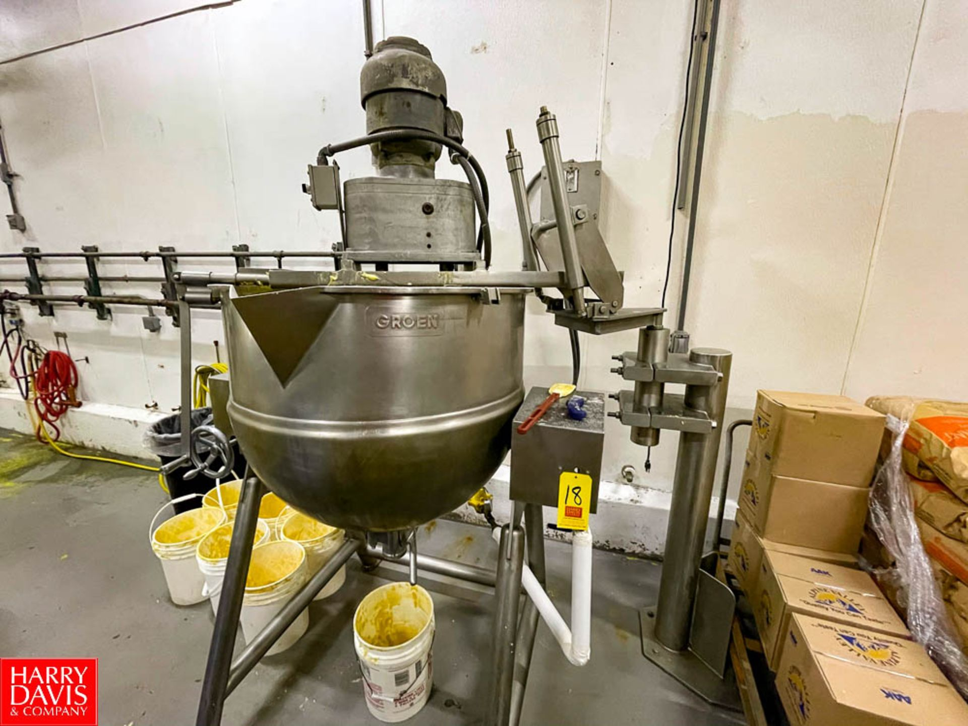 Groen 100 Gallon S/S Jacketed Tilting Kettle Model: MW/DTA-100-100 with Vertical Agitation. Rigging - Image 3 of 3
