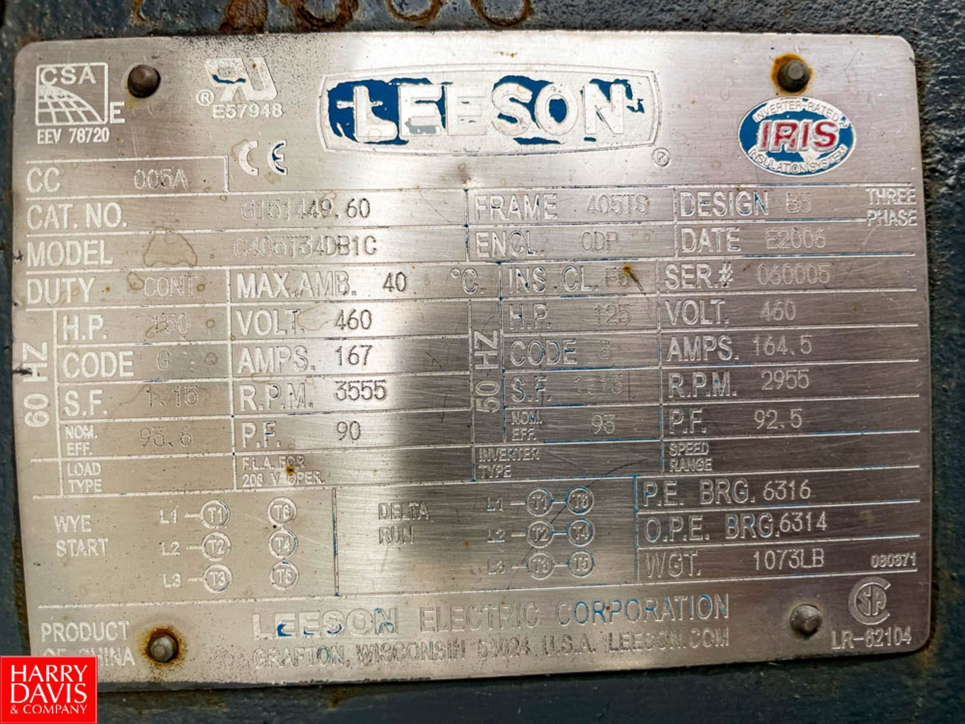 Leeson 150 HP 3,555 RPM Motor. Rigging Fee: $ 125 - Image 3 of 3