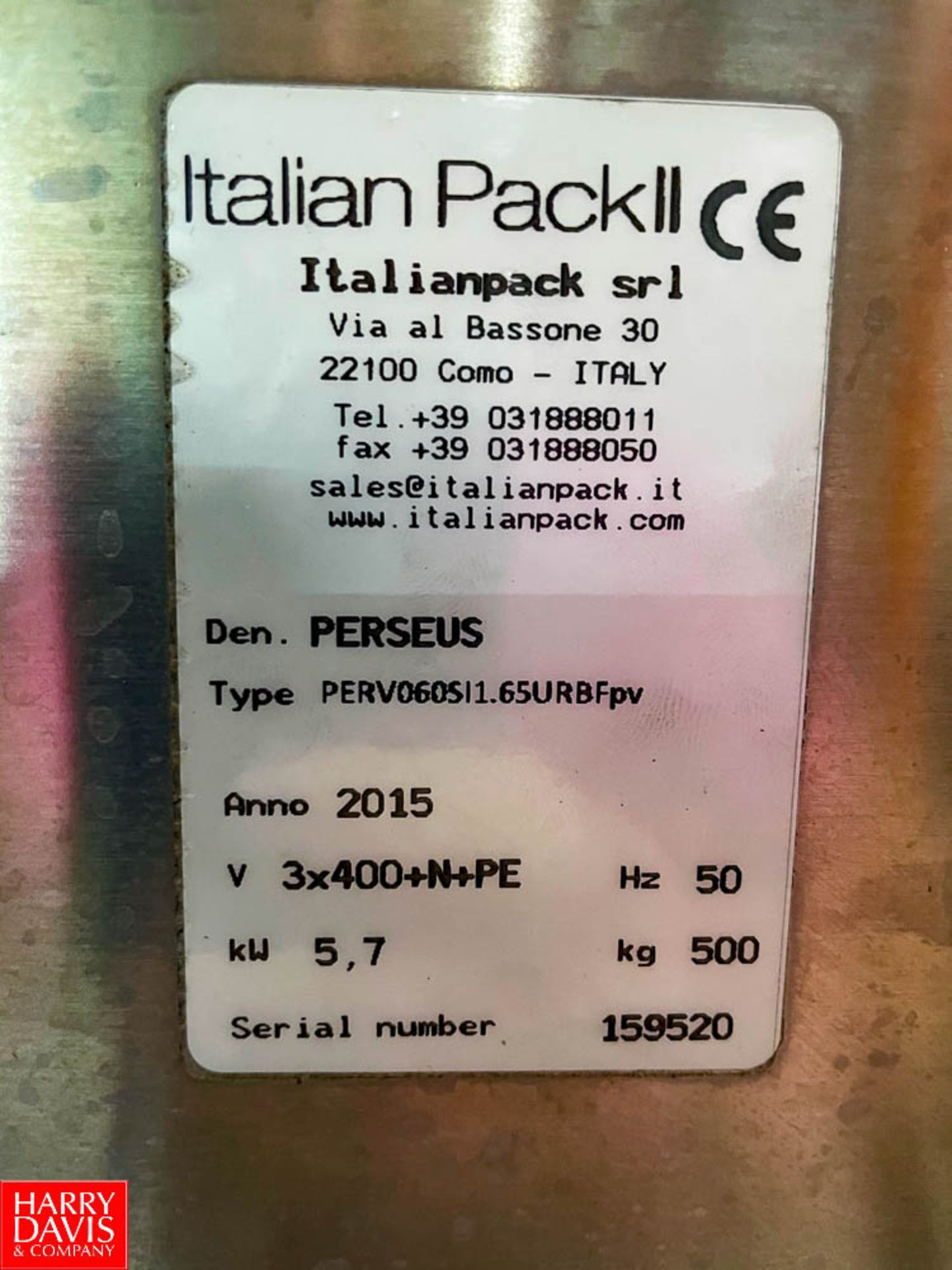 2015 Italian Pack Fully Automated Tray Packer Model: Perseus SN:159520 Type Perv060SI1.65URBFpv - Image 3 of 5