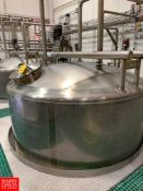 2015 A&B Process Systems 2,500 Gallon Dome-Top Cone-Bottom 316L S/S Tank with Vertical Agitation and