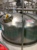 2015 A&B Process Systems 3,200 Gallon Dome-Top Cone-Bottom Jacketed 316L S/S Tank, with Vertical