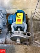 """Tri Clover Centrifugal Pump, with 5 HP 3,505 RPM Motor and 2"""" X 1.5"""" S/S Head, Clamp Type, Located"""