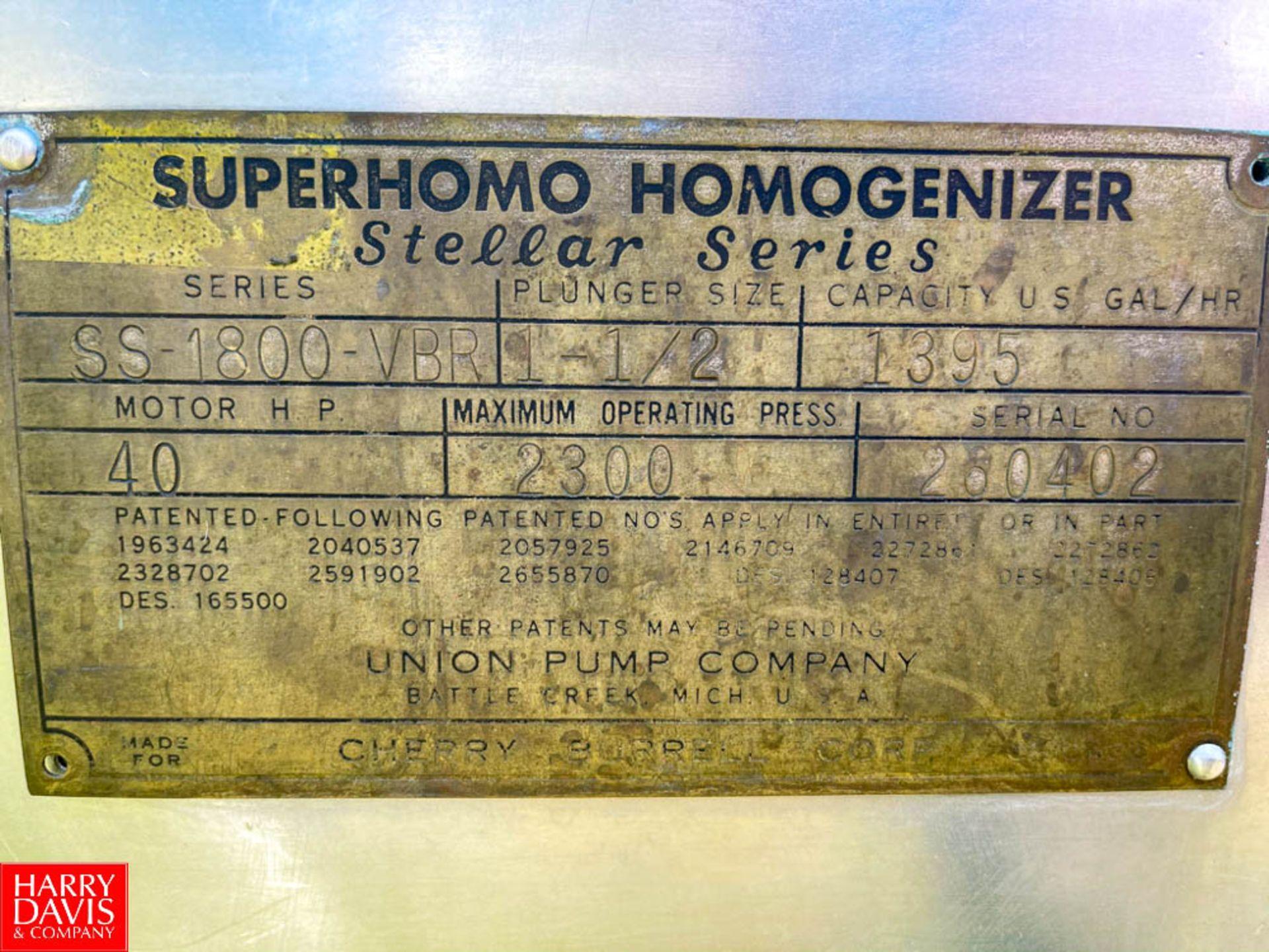 Cherry Burrell S/S Homogenizer Model: SS-1800-VBR : SN 280402, 2,300 PSI, with 40 HP Motor, - Image 3 of 3