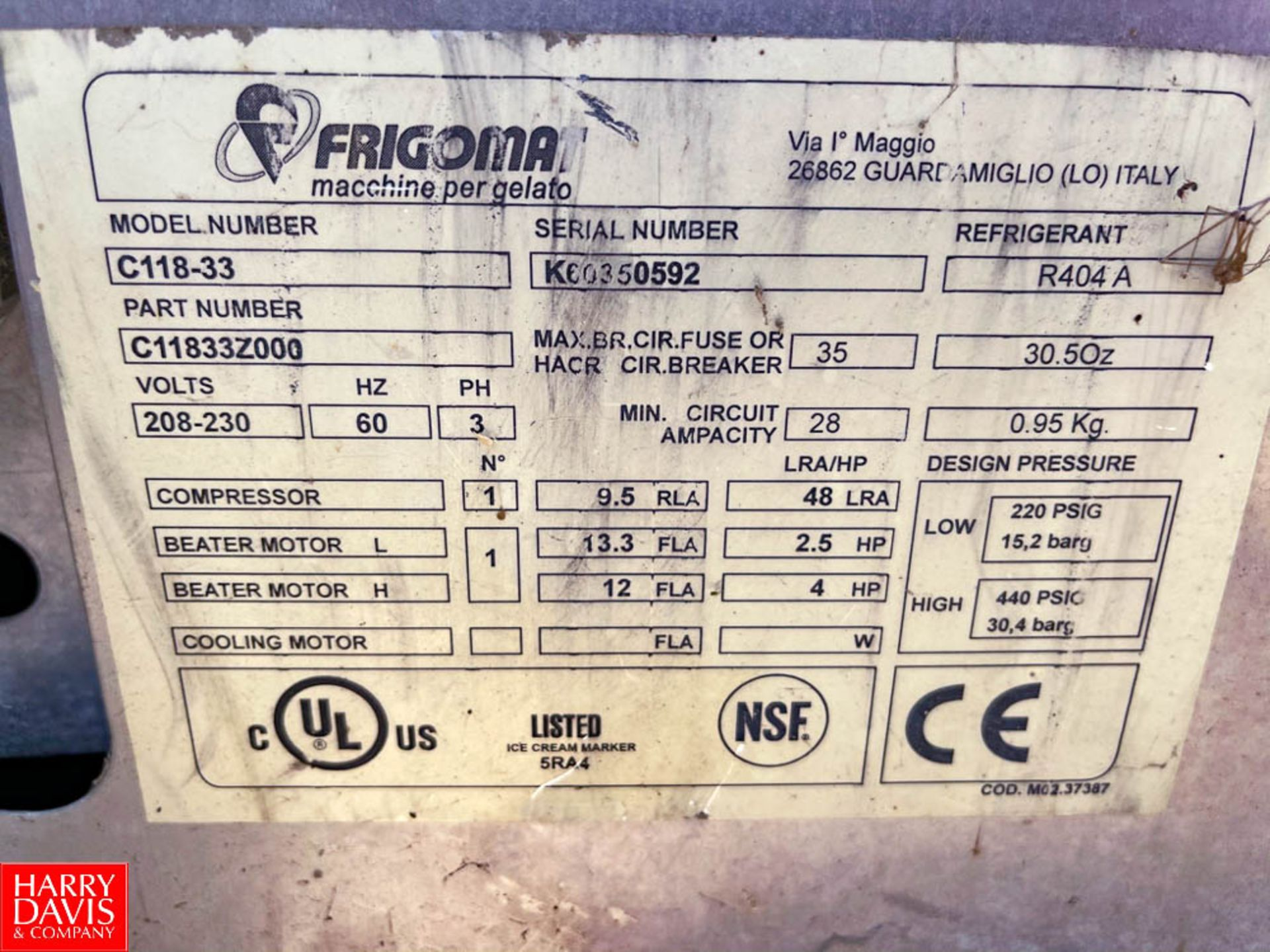 Taylor Frigomat Batch Ice Cream Freezer Model: C118-33 : SN K60350592, R404A Rigging Fee: $100 - Image 2 of 2