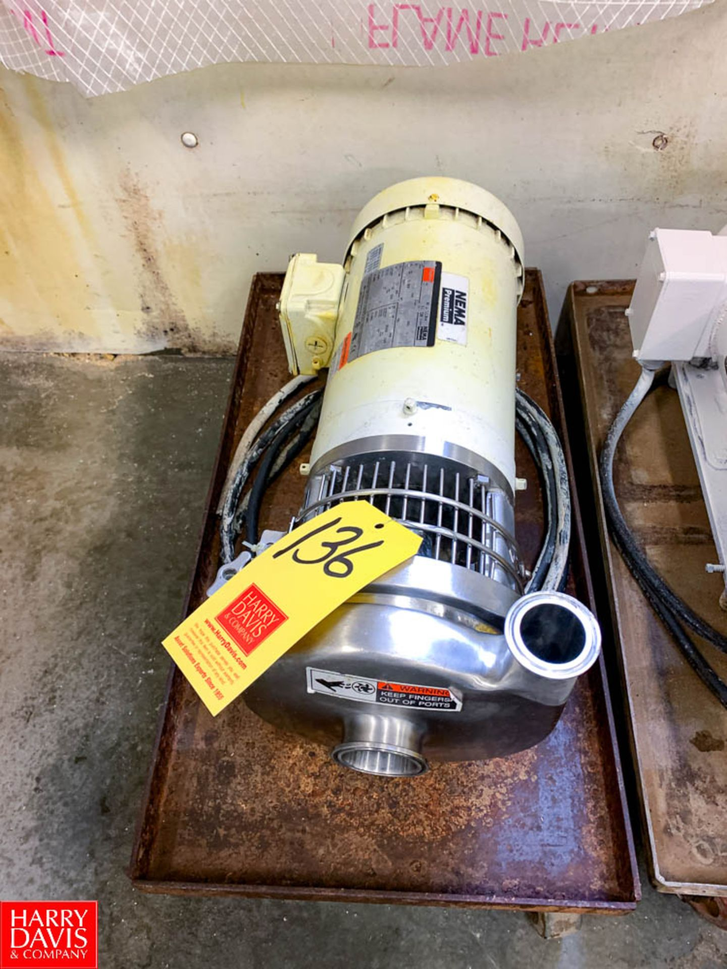 """Tri Clover Centrifugal Pump with Dayton 2 HP 1,750 RPM Motor and 2"""" X 1.5 """" S/S Head, Clamp Type"""
