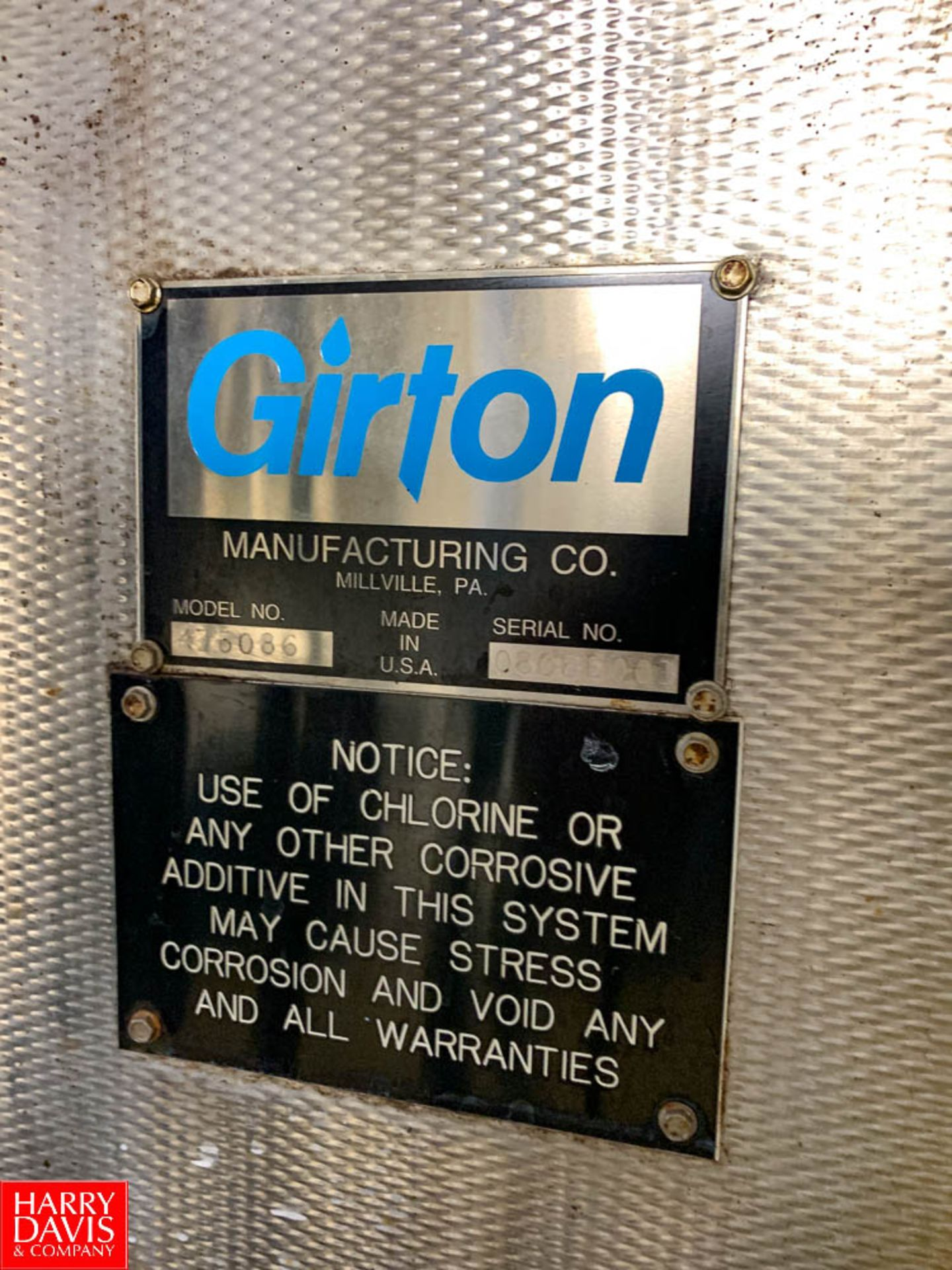 Girton Freon Refrigerated Ice Builder Model: KZ6086, S/N: 08053001, with S/S Coils, (2) Pumps and ( - Image 2 of 3
