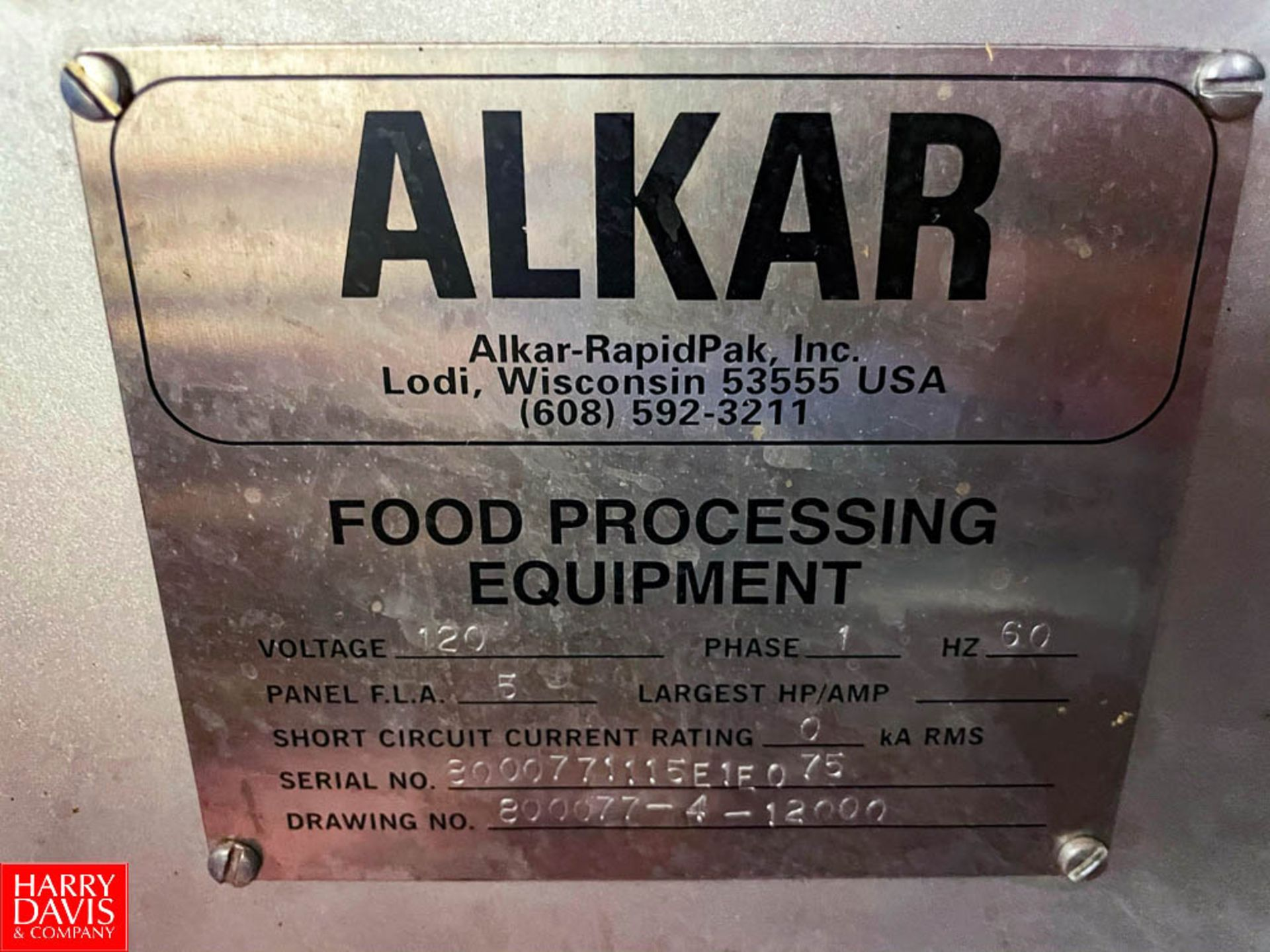 2015 Alkar Smoker with 120 Volts S/N: 8000771115E1F075 - Image 7 of 10