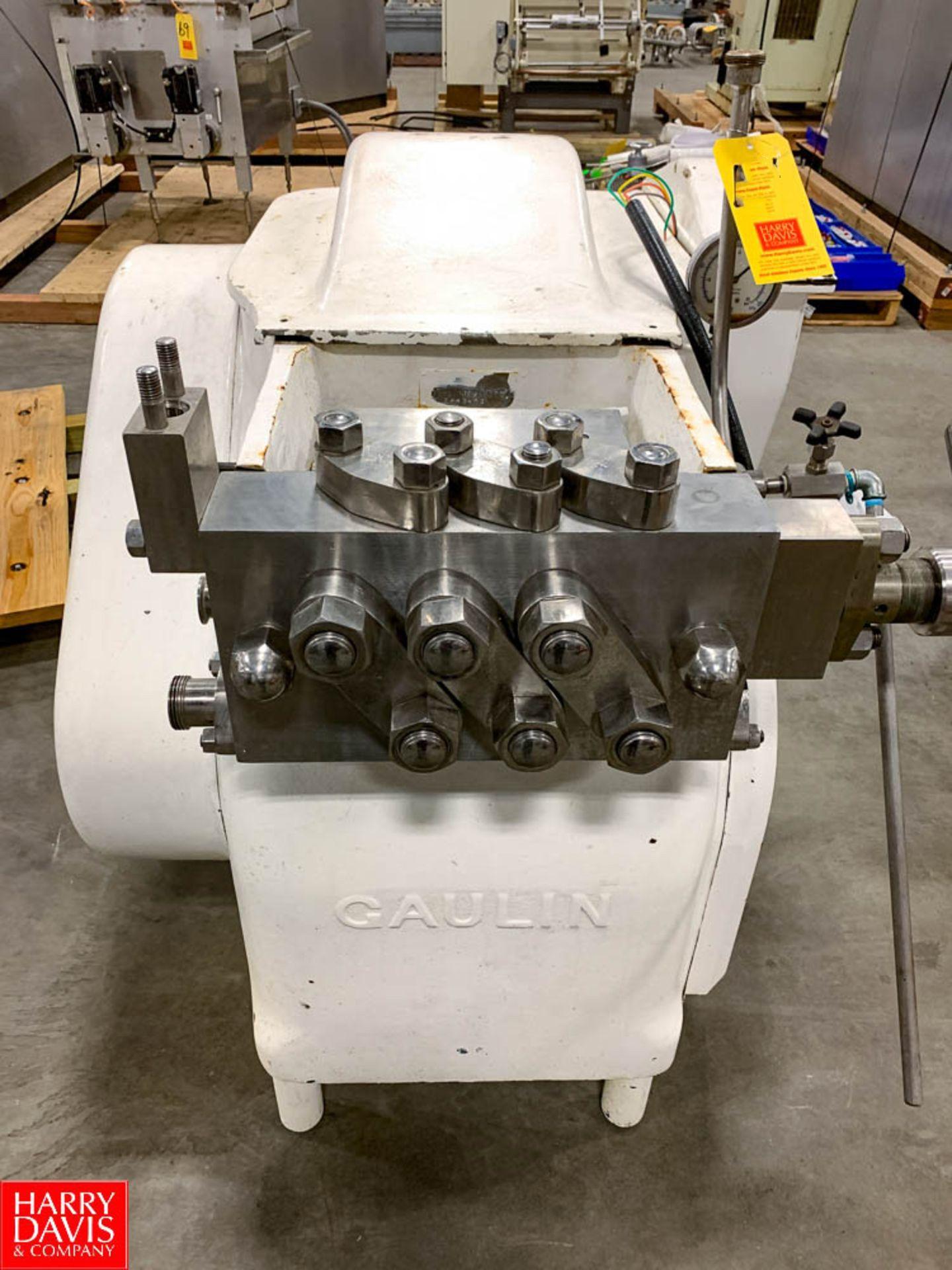 Gaulin Homogenizer Model: 250-DJF9A-8PS, S/N: 5642453 Rigging Fee: $150
