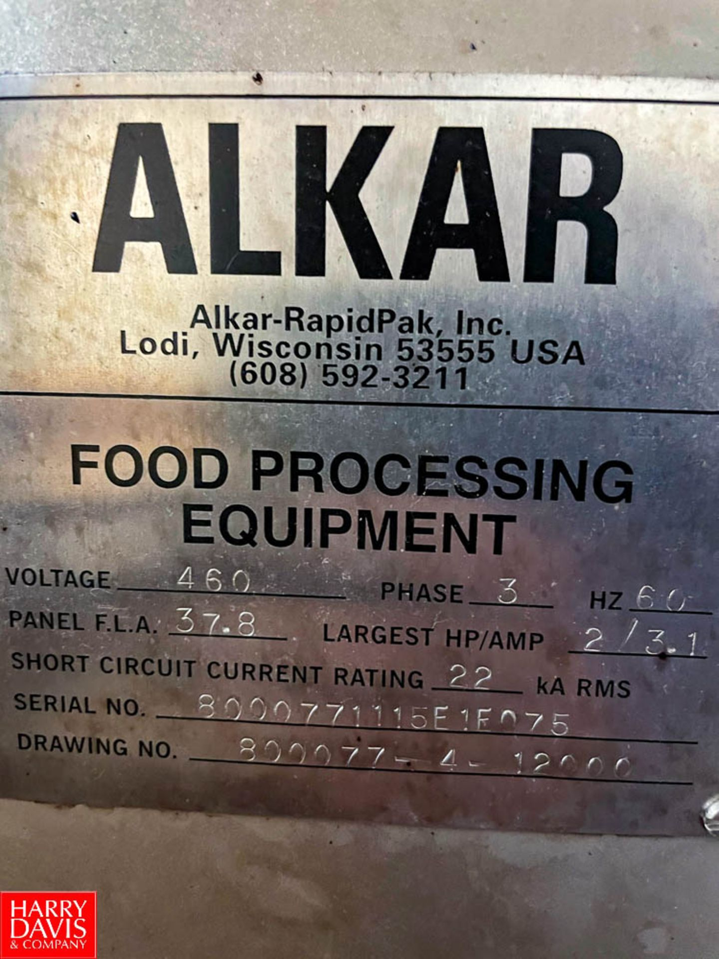 2015 Alkar Smoker with 120 Volts S/N: 8000771115E1F075 - Image 8 of 10