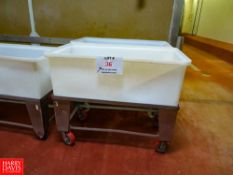 """Plastic Bins With Carts On Wheels ( 46""""w x 22""""d x 39""""h) Rigging Fee: $35"""