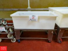 """Plastic Bins With Carts On Wheels (46""""w x 22""""d x 36""""h) Rigging Fee: $35"""