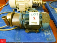 Puma Centrifugal Pump, With Leeson 3,500 RPM Motor, 3 Phase S/N: 060034 Rigging Fee: $35