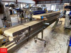 S/S Frame Belt Conveyor 56', 3 Sections. Rigging Fee: $250