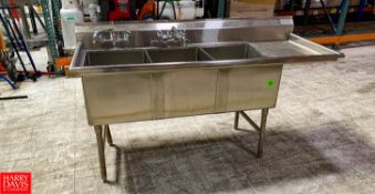 3 Bowl S/S Sink, With Backsplash And Wing Location: Hayward, CA Rigging Fee: $250