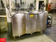 3-Compartment (100 Gallons Per Compartment) Insulated S/S Flavor Tank, With Vertical Agitation