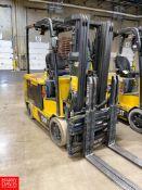 "Caterpillar 4,000 lb Capacity Sit Down Electric Forklift Model EC30N, S/N ATB3150021, 186"" Maximum"