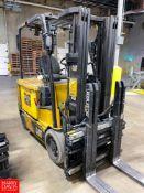 "Caterpillar 4,000 lb Capacity Sit Down Electric Forklift Model EC30N, S/N ATB3150020, 186"" Maximum"