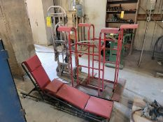 Lot of 6: (2) Convertible Hand Trucks, (2) Mechanic Roll Carts, (2) Stationary Carts with side exten