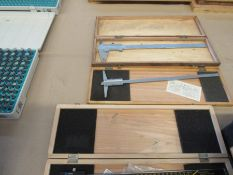 Lot of 3 Calipers + 4 Boxes of Gauge Maker Pin Gauges