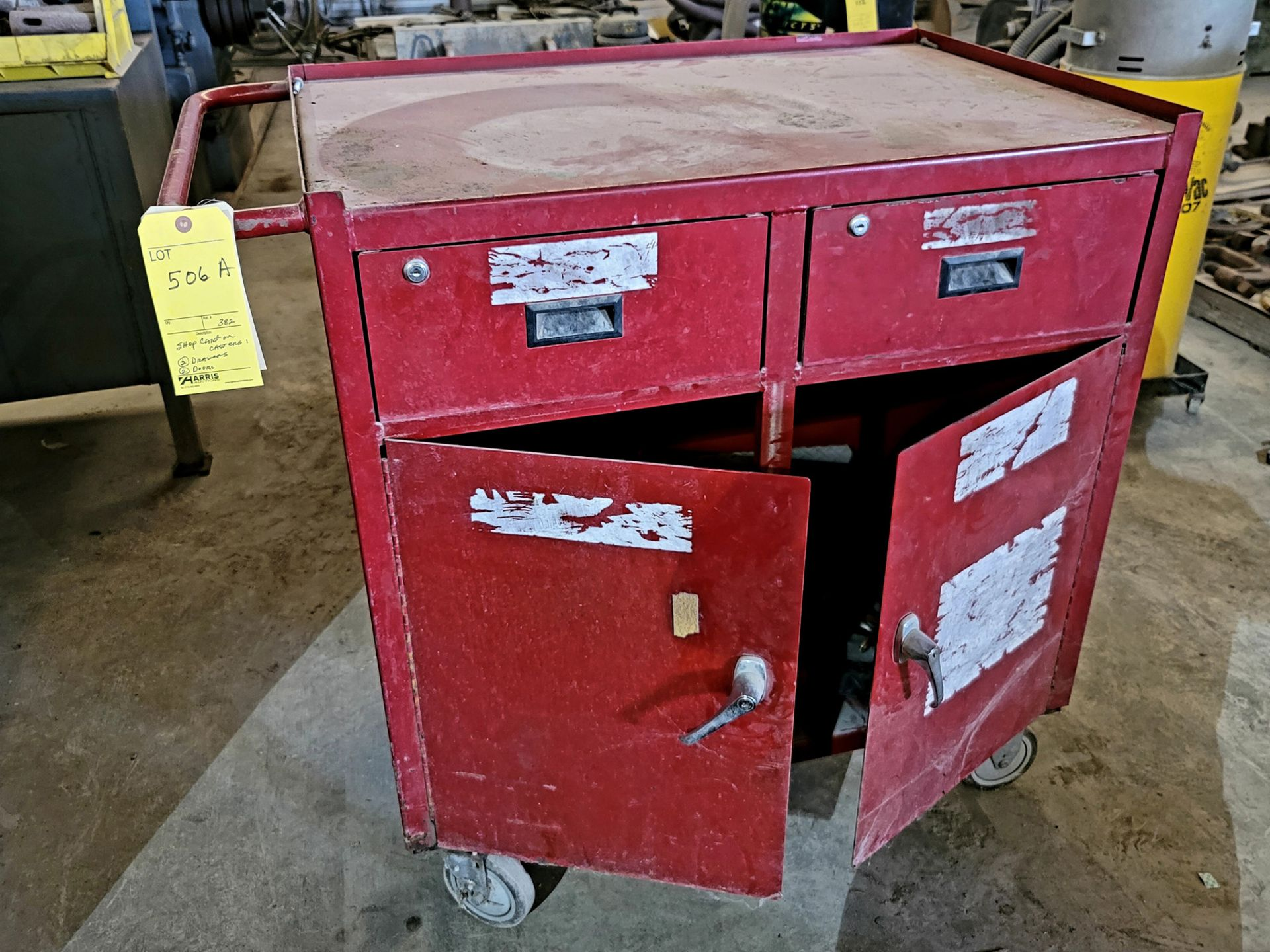 Shop Cart on Casters, 2 Drawers, 2-Doors, with Contents