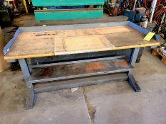 Metal Shop Bench with Wood Top