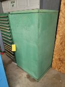 2 Door Front & Side 3 Shelf Metal Cabinet with Contents