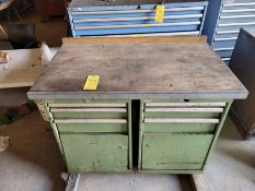 """Two Units, 3-Drawer/One Door Lista Cabinets with 2"""" Wood Top"""