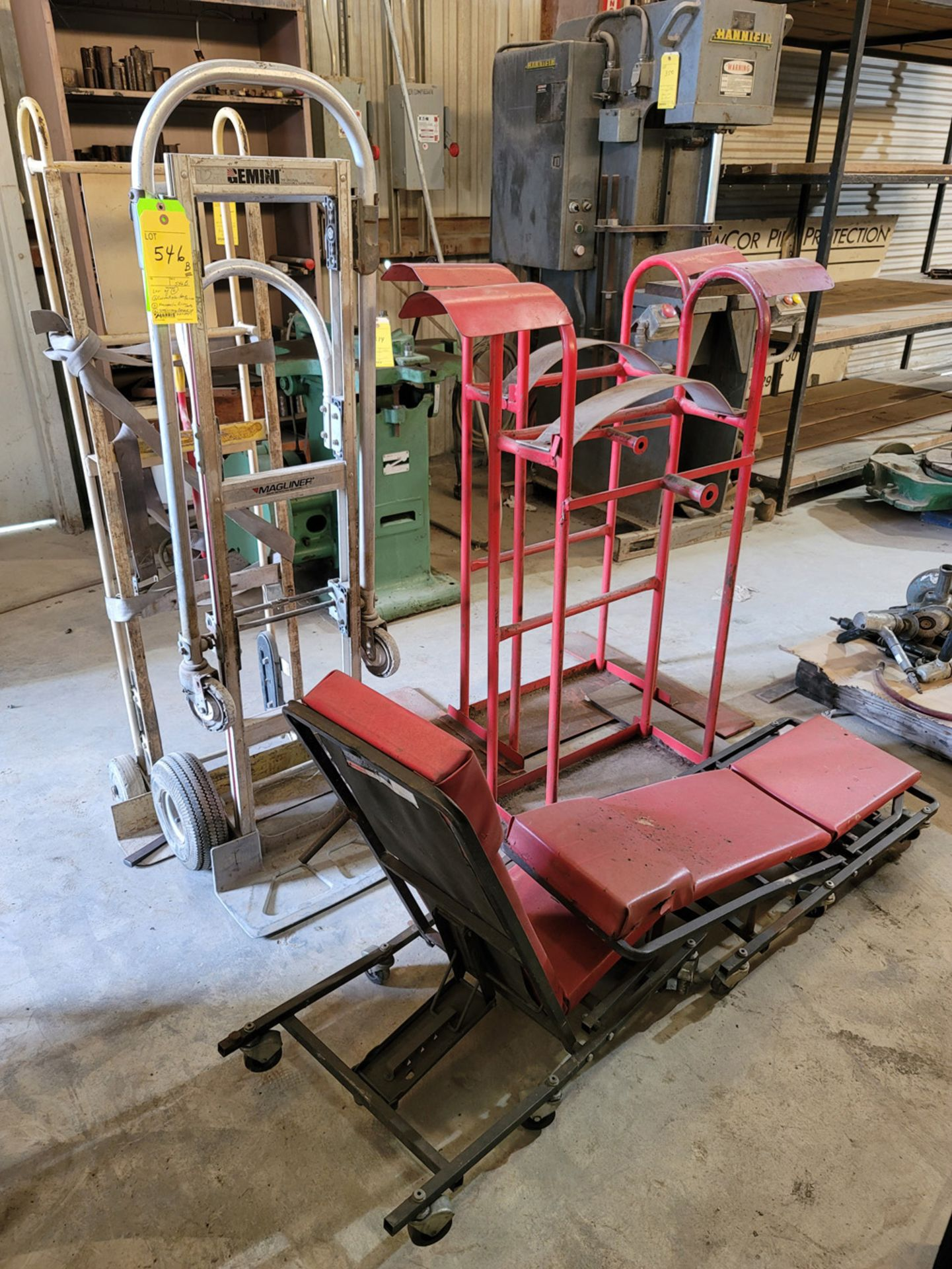 Lot of 6: (2) Convertible Hand Trucks, (2) Mechanic Roll Carts, (2) Stationary Carts with side exten - Image 2 of 3