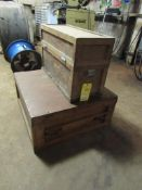 """Lot of 2 Wooden Chests, No Contents: (1) 32"""" x 32"""" x 15"""" H, (1) 31"""" x 12.5"""" x 20"""" H"""