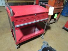 Metal Shop Cart on Casters, Open Top, 1 Drawer and Lower Shelf