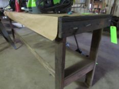 """Wooden Shop Table with Lower Shelf, 96"""" x 24"""" x 37"""" H"""