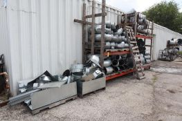 Lot of Duct Work on Racks and Pallets near Building, 2 Stacks - 1 Lot