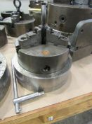 """8"""" 3-Jaw Chuck with 2"""" Thru-Hole, 1897/95, mounted on 10"""" adapter plate 3"""" thick"""