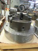 """9"""" 3-Jaw Chuck with 2-1/2"""" Thru-Hole, C0095, mounted on 12"""" adapter plate 3"""" thick"""