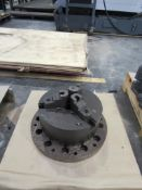 """12"""" 3-Jaw Buck Chuck with 3"""" Thru-Hole mounted on custom 16"""" base; 12 holes, 1-1/4"""" with 3/4"""" dia."""