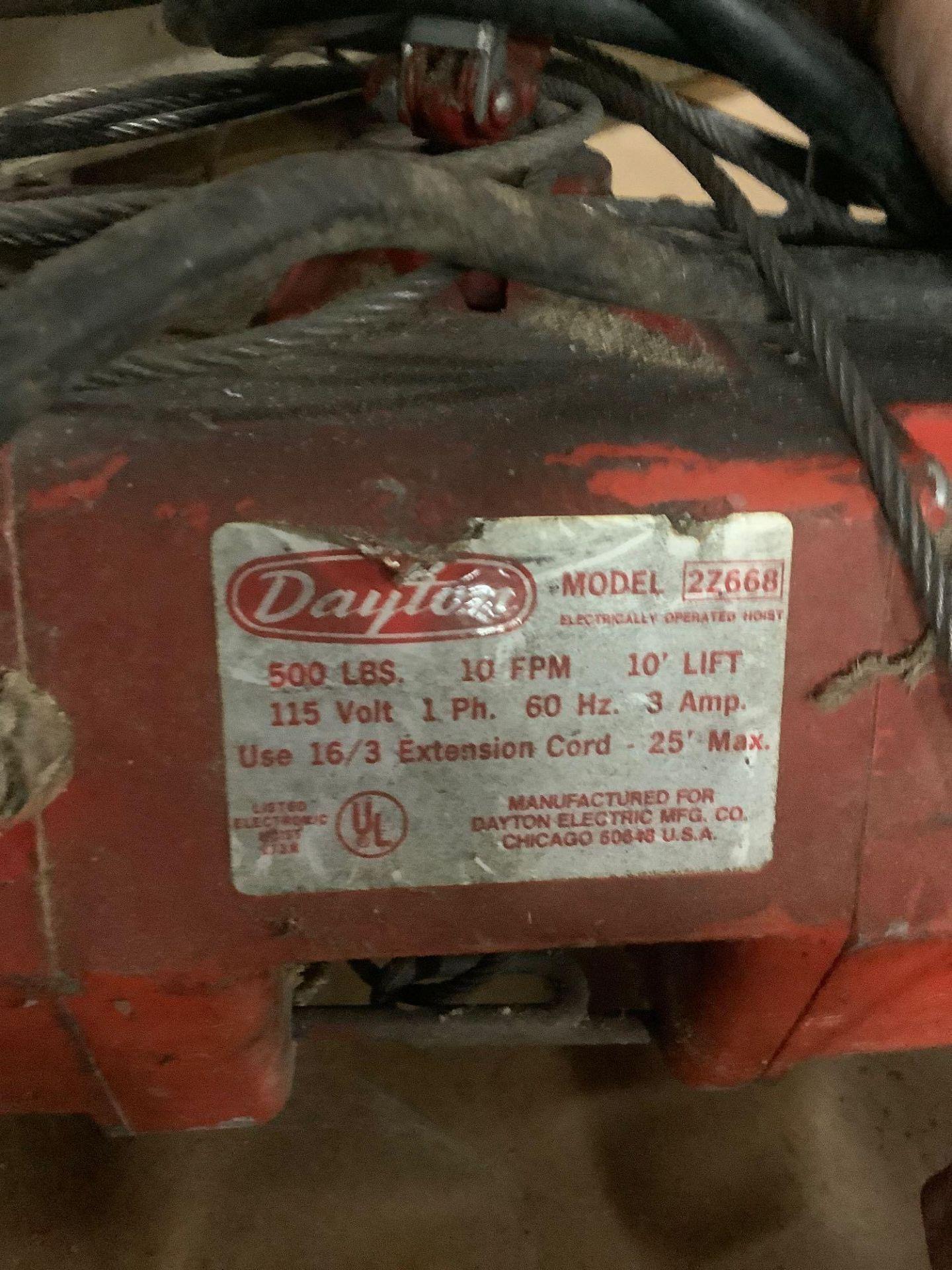 Lot of 2: Dayton 500 lb Hoist, (1) Sherline Scale Max 2000 lb - Image 4 of 4