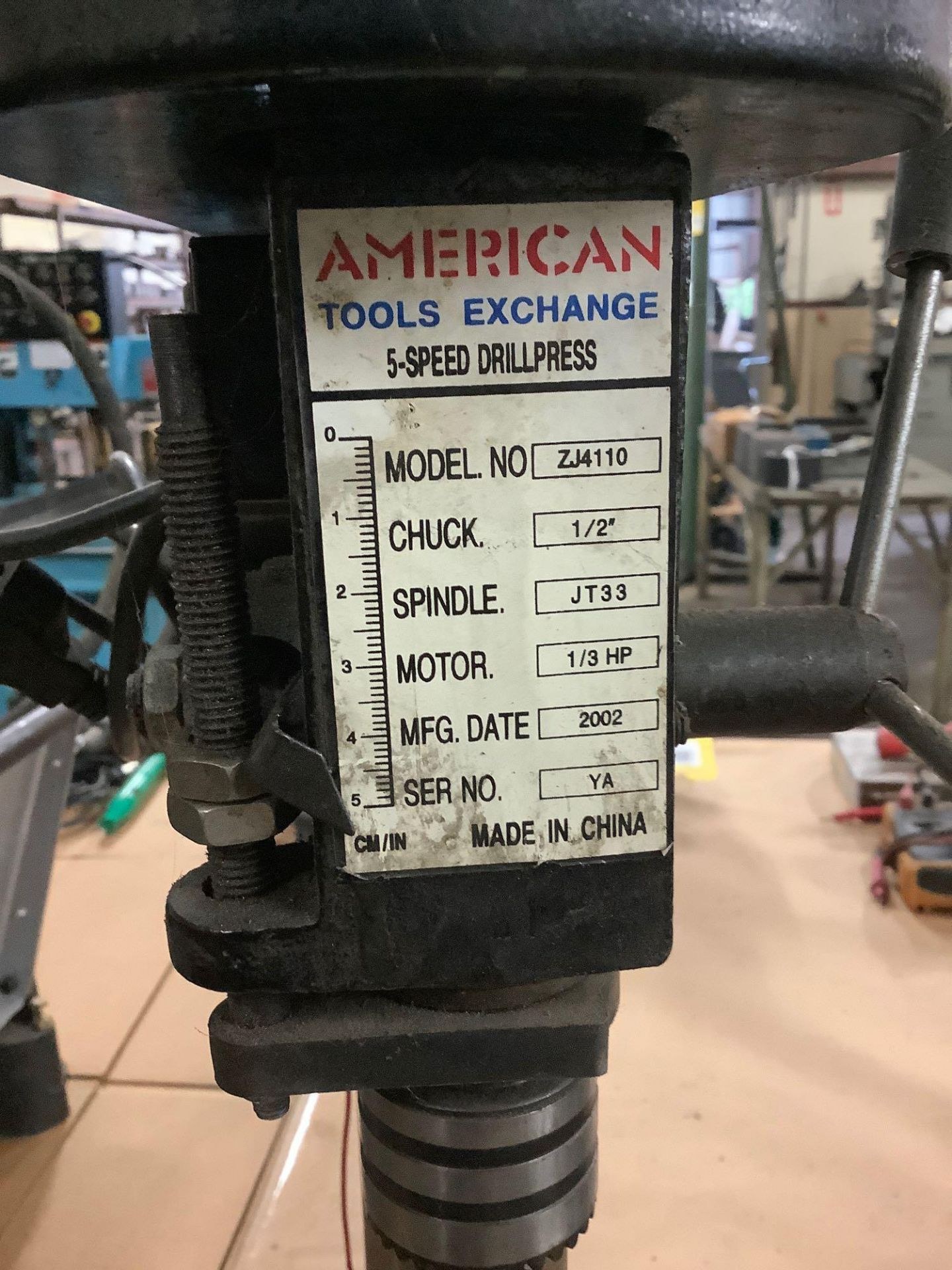 American Table Type 5-Speed Drill Press Model ZJ4110 - Image 3 of 3