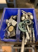 Lot: Calipers, Micrometers, Gauges; assorted sizes