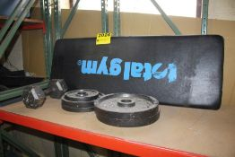 ASSORTED WEIGHTS & BENCH PAD