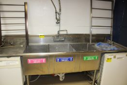 "STAINLESS STEEL THREE COMPARTMENT SINK, 102"" X 30"" X 36"", WITH FAUCET, WALL MOUNT PRE-RINSE UNIT"